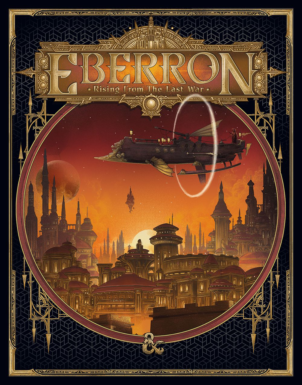 An alternate cover for Eberron shows an airship sailing of an exotic, gilded city at sunset.
