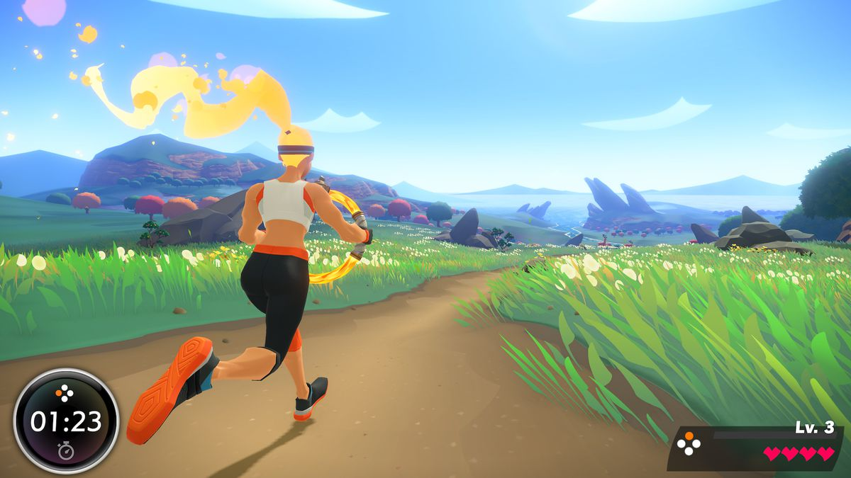 Screen image of woman running through a landscape from Nintendo's Ring Fit Adventure