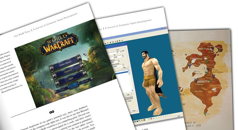 pages from The WoW Diary, a book about the making of World of Warcraft