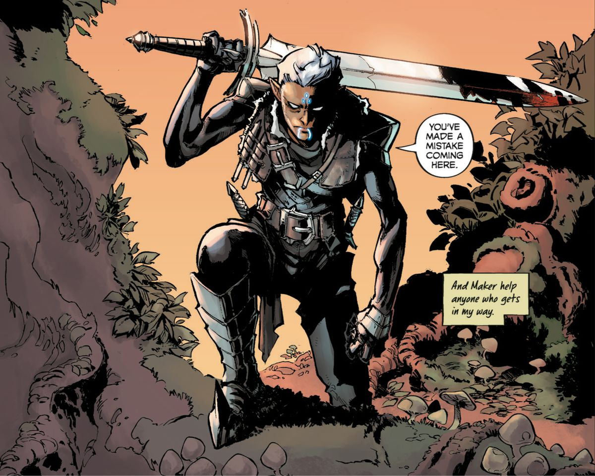 "Fenris, an elvhen warrior from BioWare's Dragon Age franchise, hefts a massive, bloody sword across his back as he ominously says ""You've made a mistake coming here,"" in Dragon Age: Blue Wraith #1, Dark Horse Comics (2020)."