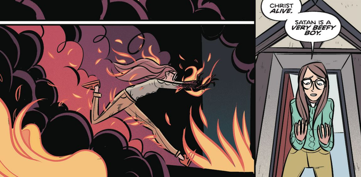 "Billie Baker, runs from hallucinatory flames. After she escapes, she stares at her uninjured hands and exclaims ""Christ alive. Satan is a very beefy boy,"" in Steeple #5, Dark Horse Comics (2020)."