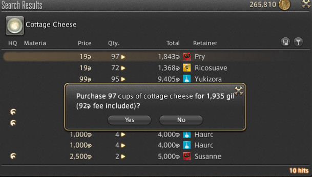 A prompt asks if I really want to buy 97 cups of cottage cheese