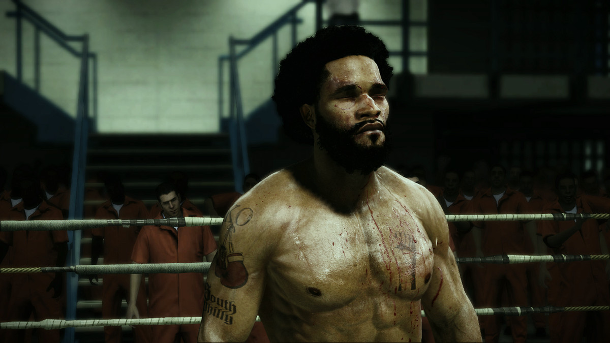 a black boxer, Andre Bishop, bruised and bloodied in a ring at a prison in Fight Night Champion