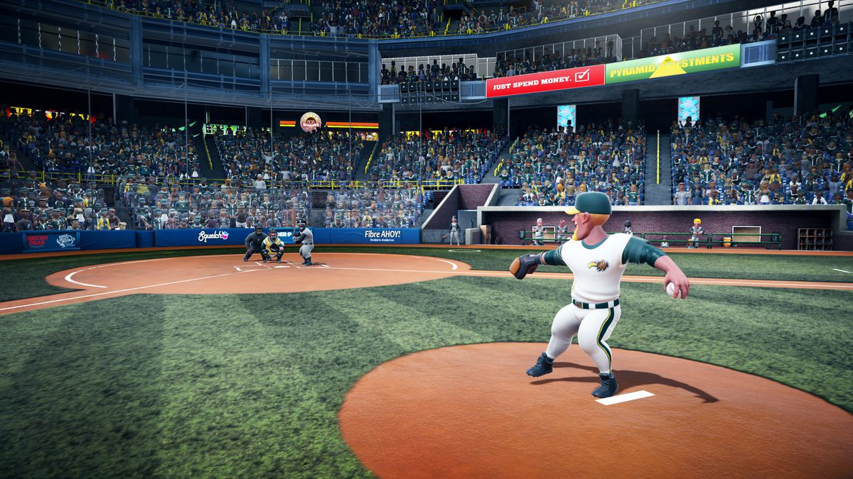Super Mega Baseball 2 - shot from behind the mound with pitcher in the middle of his windup