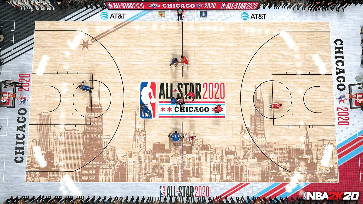 Overhead shot of the official court graphic and midcourt logo for the 2020 NBA All-Star Game in Chicago, as seen in NBA 2K20