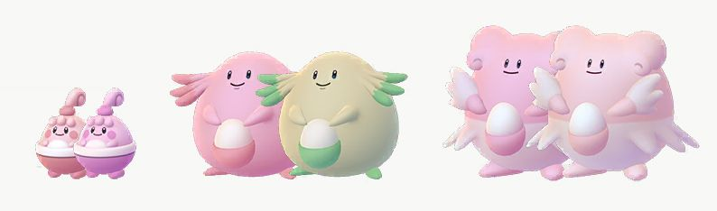Happiny, Chansey, and Blissey compared with their Shiny forms. Blissey is a slightly darker pink, Chansey turns green, and Blissey turns a lighter pink.