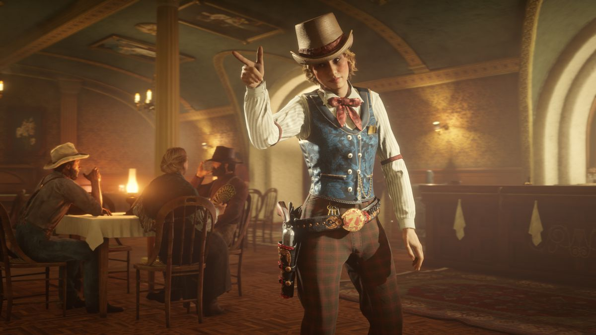 Red Dead Online - a player poses in their bar, pointing a finger, and wears jaunty clothes.