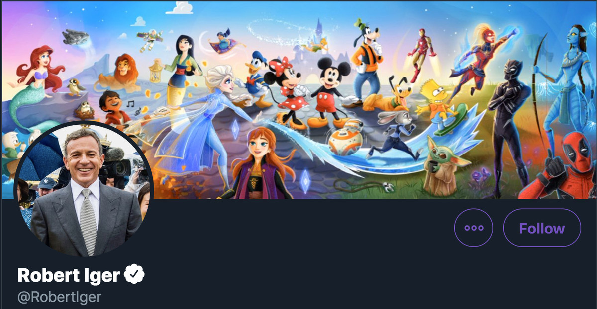 bob iger's twitter banner, which includes disney princesses and star wars and marvel characters