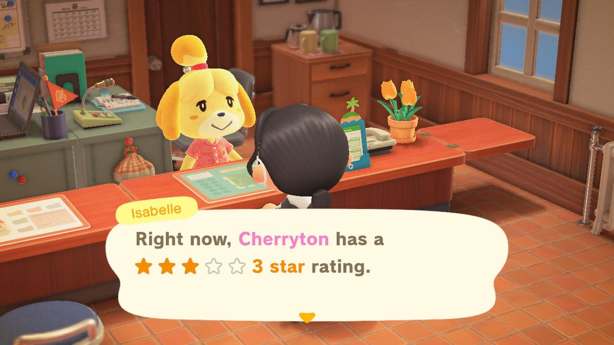 Isabelle notes that Cherryton island has a three star ranking