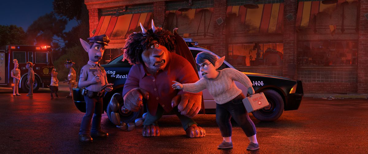 Blue elf mom Laurel and the Manticore confront an elf cop in Pixar's Onward.