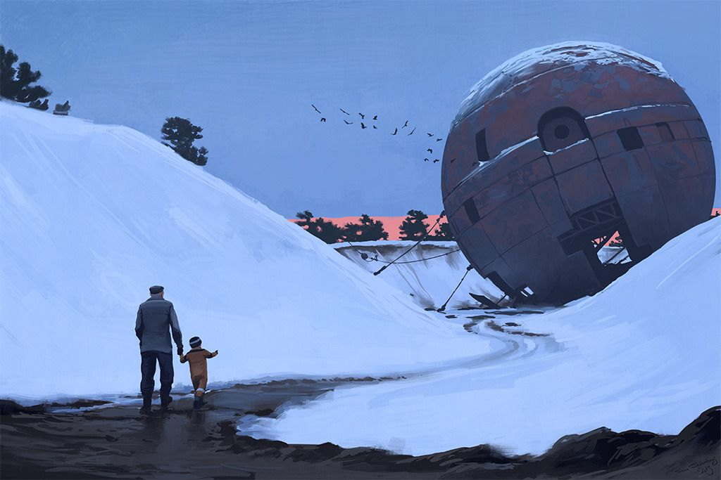 In a painting by Simon Stålenhag, an adult leads a young child along a muddy path through the snow toward a vast rusty segmented metal sphere sitting in a hollow in the woods.