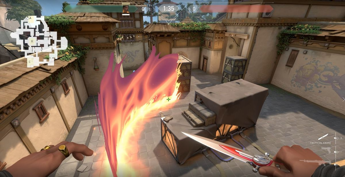 Phoenix using his wall ability called Blaze in Valorant