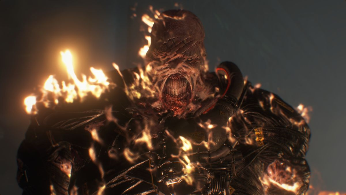 The Nemesis burns in a screenshot from the Resident Evil 3 remake