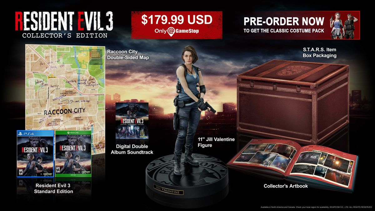 A promotional image of the collectibles from the resident evil 3 collector's edition