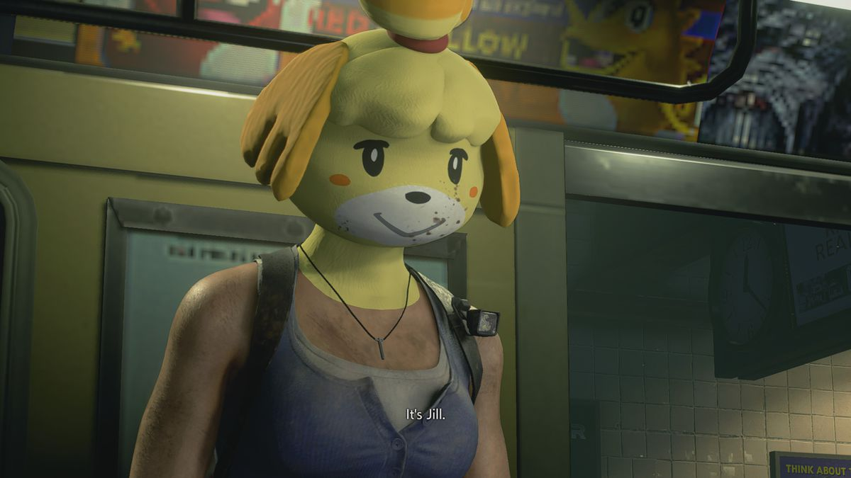 another shot of jill valentine wearing the isabelle mask in resident evil 3