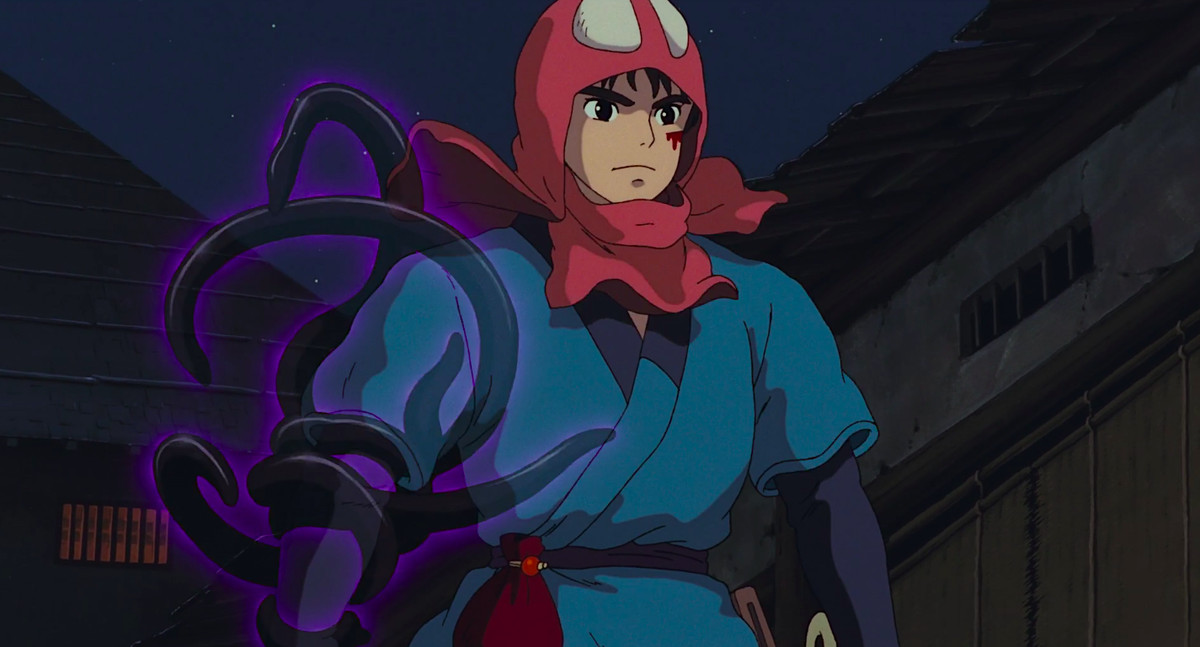 The warrior Ashitaka walks forward, his right arm writhing with the semi-translucent purple tentacles of his spirit-curse, in Princess Mononoke