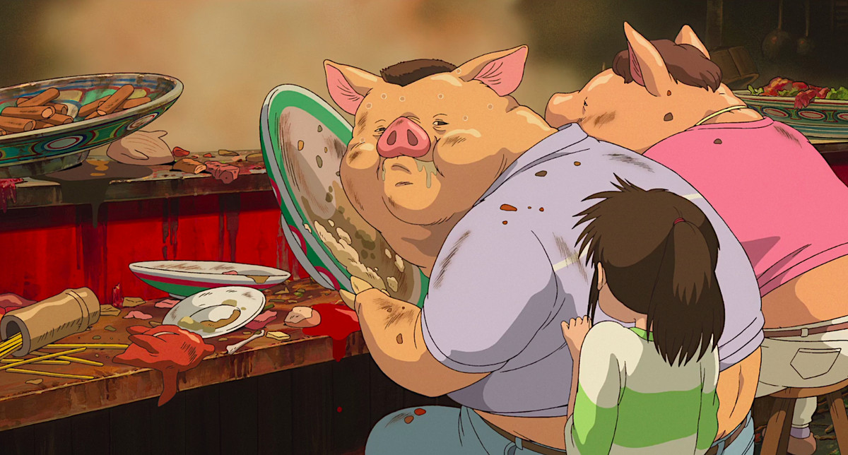 Chihiro confronts her parents, now turned into grotesque pigs, in Spirited Away
