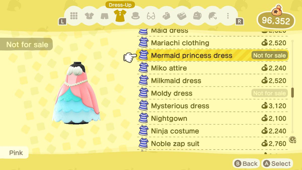 A listing for an unpurchasable Mermaid Princess Dress in Animal Crossing