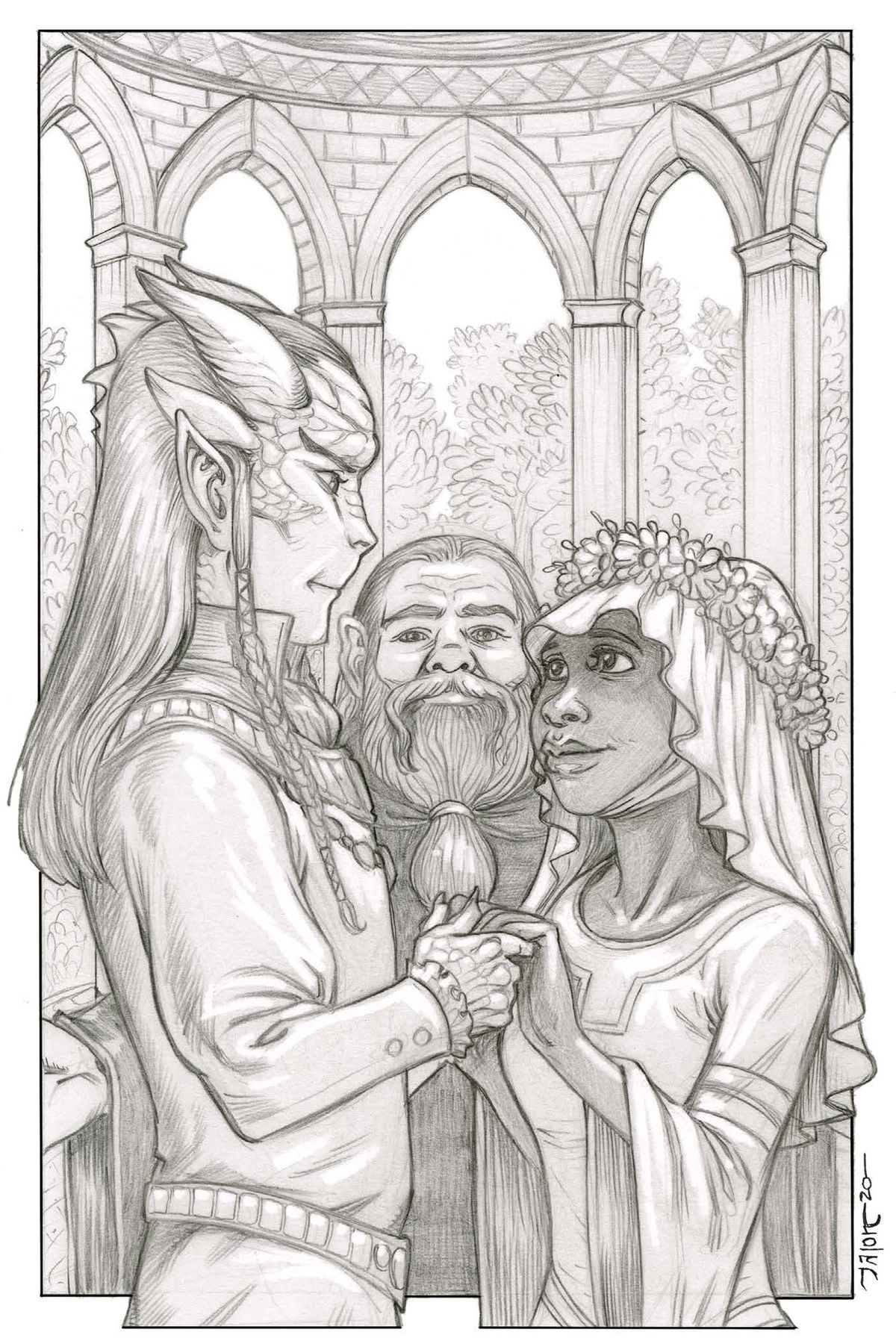 A marriage scene, showing a tiefling and a Black human, being married by a dwarf.