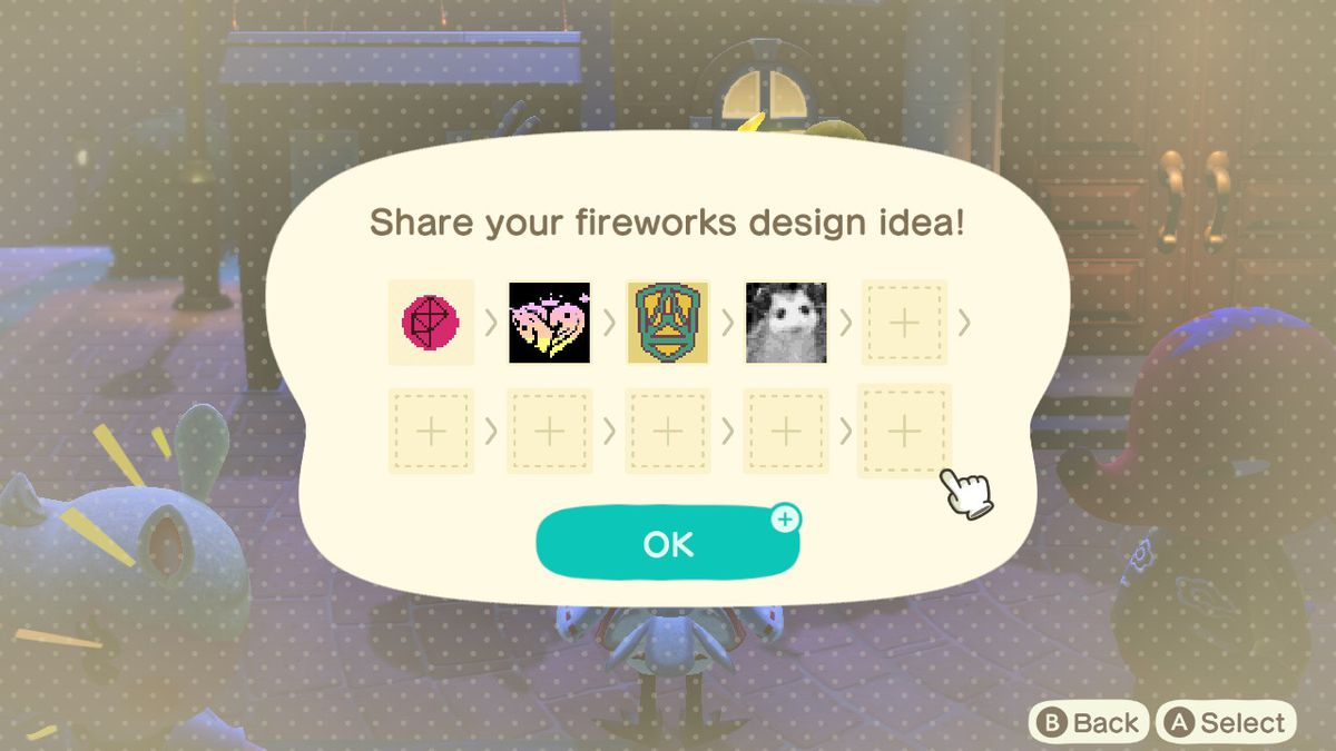 A menu screen that shows uploaded patterns. the Polygon logo, as well as a photo of a possum are part of the group.