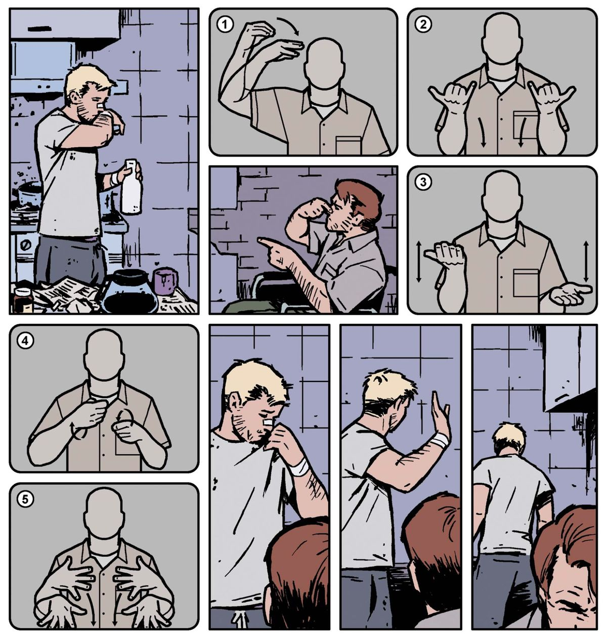 Hawkeye signs with his brother, Barney, in american sign language in Hawkeye #19, Marvel Comics (2014).