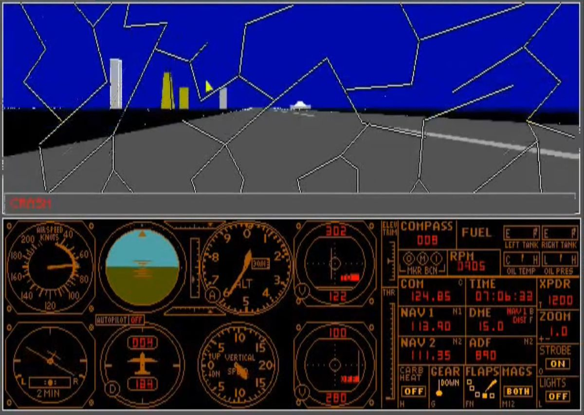 A cracked windscreen in Microsoft Flight Simulator 3.0