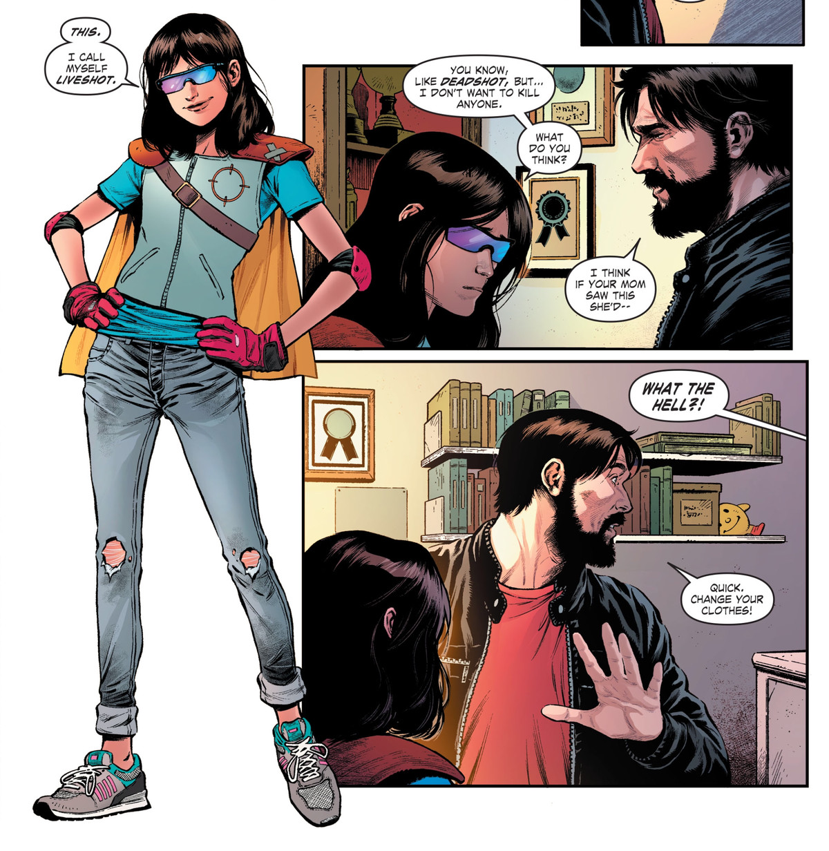 Deadshot's daughter Zoe shows off her home-made superhero costume as Liveshot, in Suicide Squad #7, DC Comics (2020).