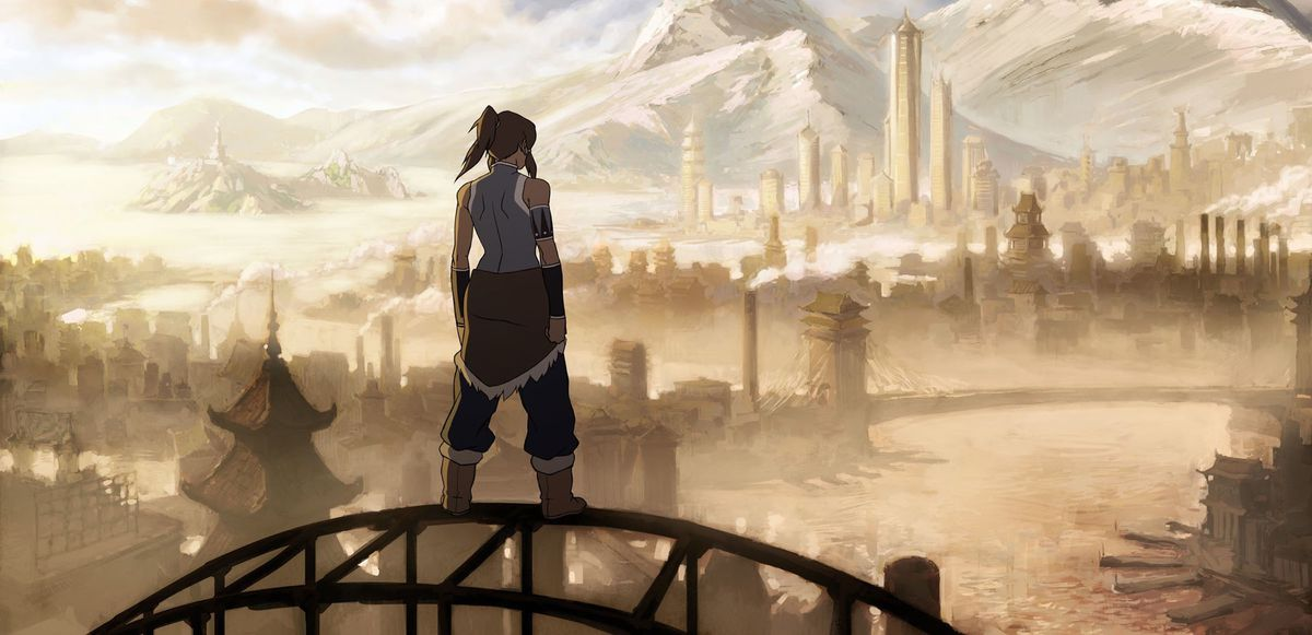 The eponymous Korra stands heroically with her back to the viewer, atop a suspension bridge, looking at the skyline of Republic City.