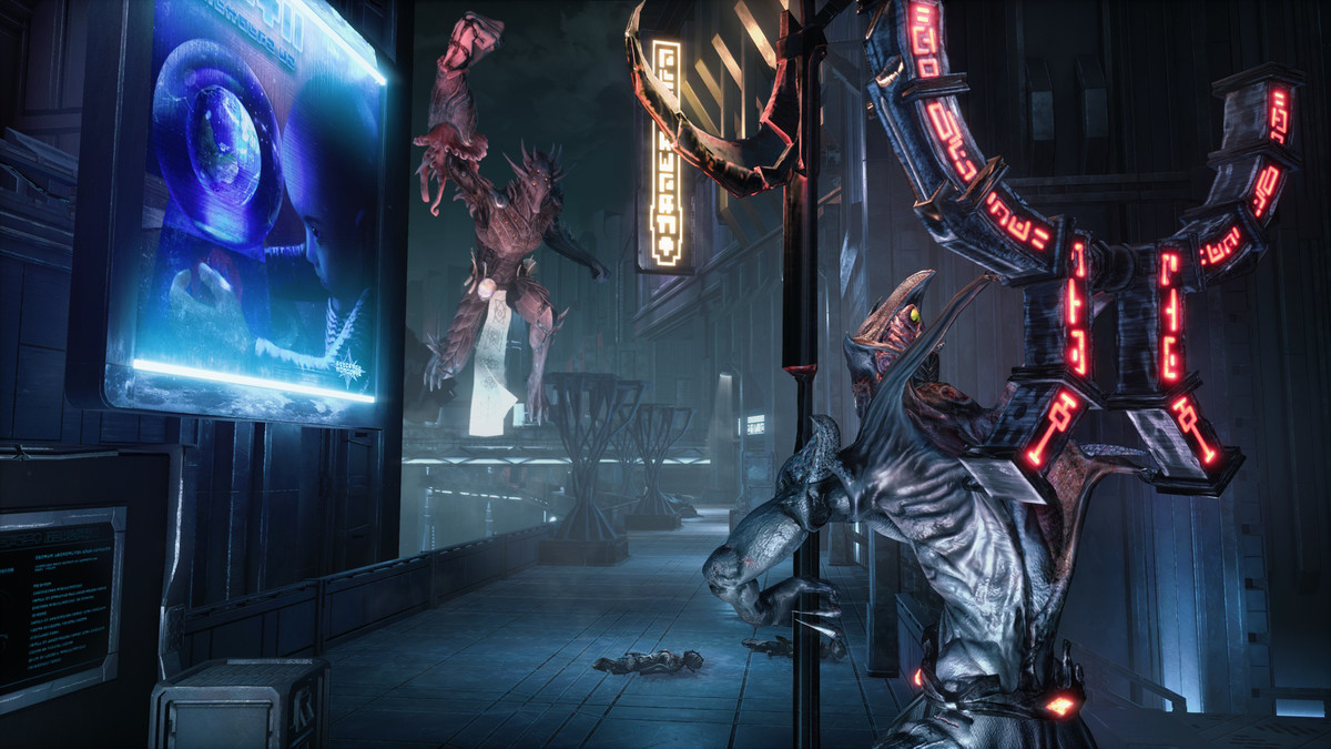 Enemies standing around a body in Hellpoint