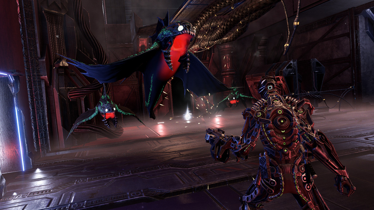 Hellpoint character fighting an enemy with a gun
