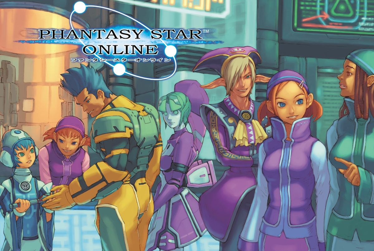 Various Phantasy Star Online characters stand in a group