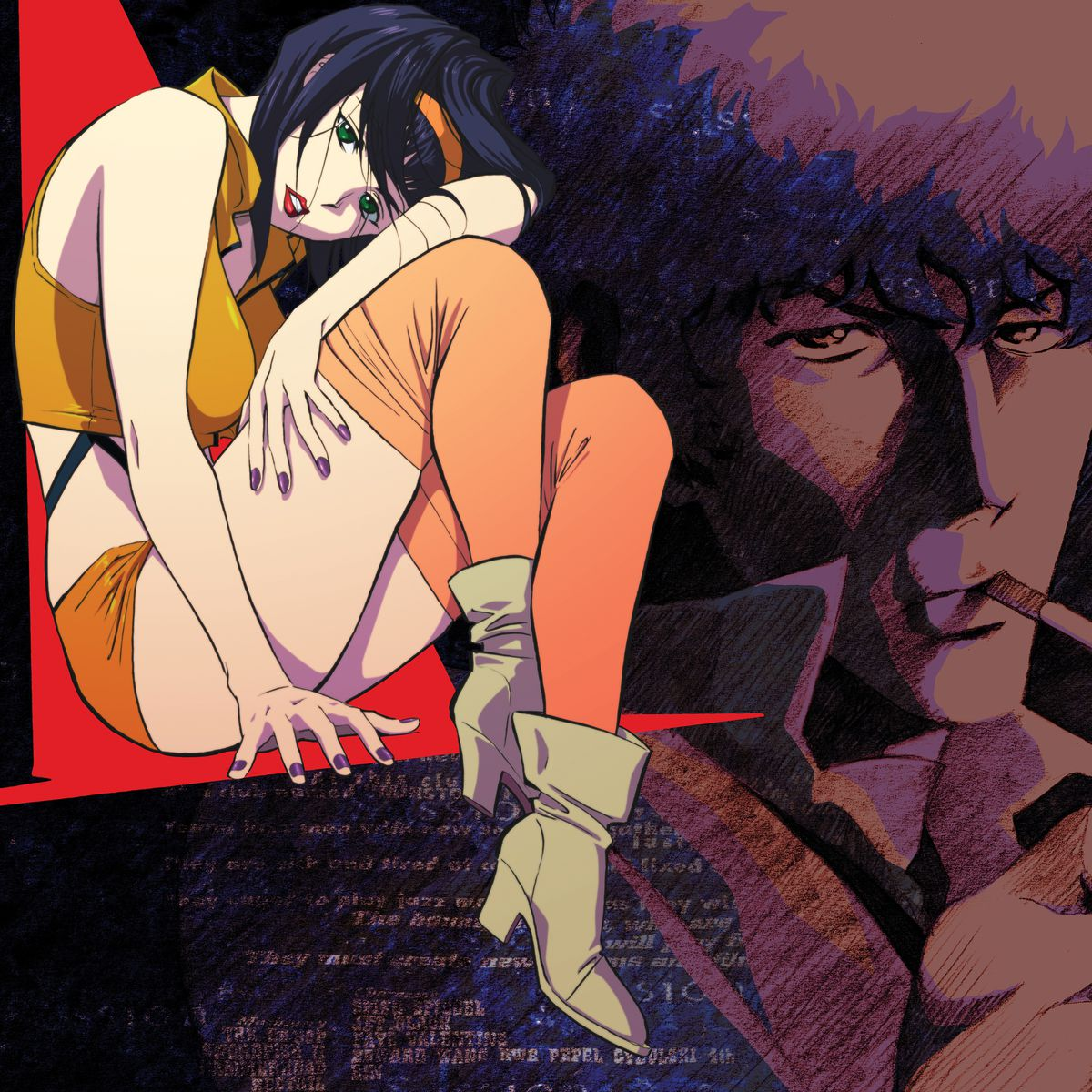 cover artwork for the vinyl LP set Cowboy Bebop (Original Series Soundtrack), featuring Faye Valentine sitting on the left and Spike Spiegel smoking on the right