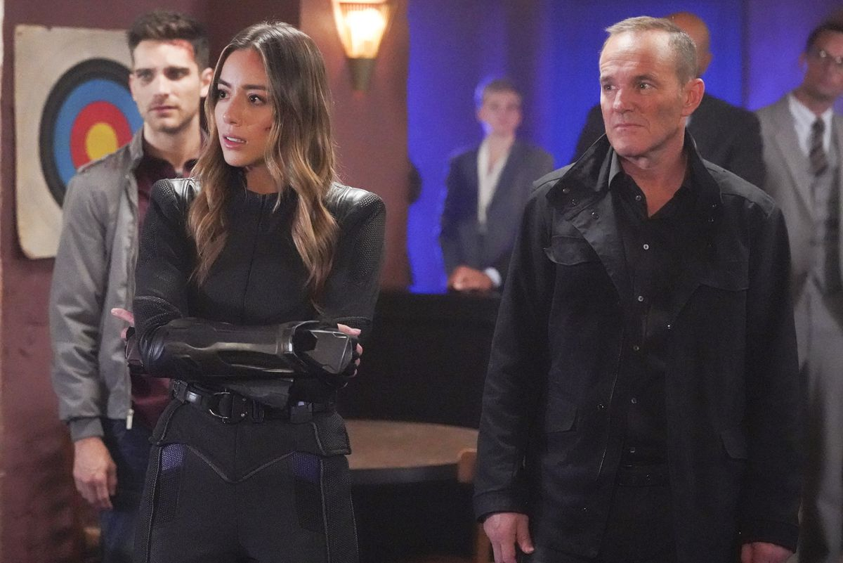 chloe benett and clark gregg in the agents of shield finale