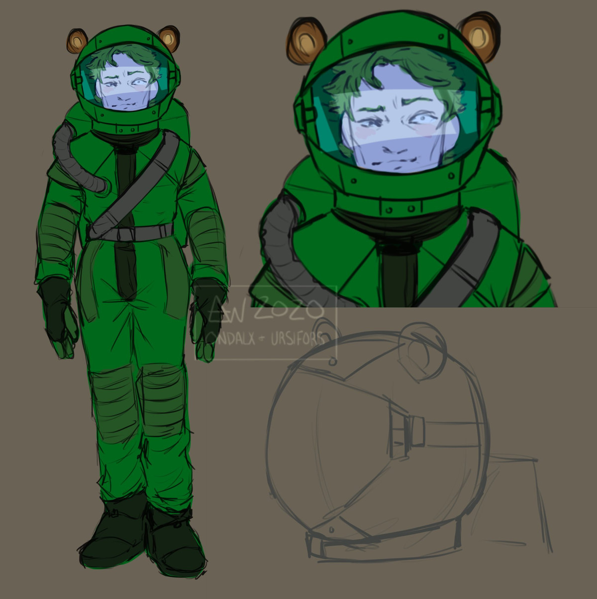 A player-drawn Among Us crewsona showing a dark green crewmate with bear ears on his helmet