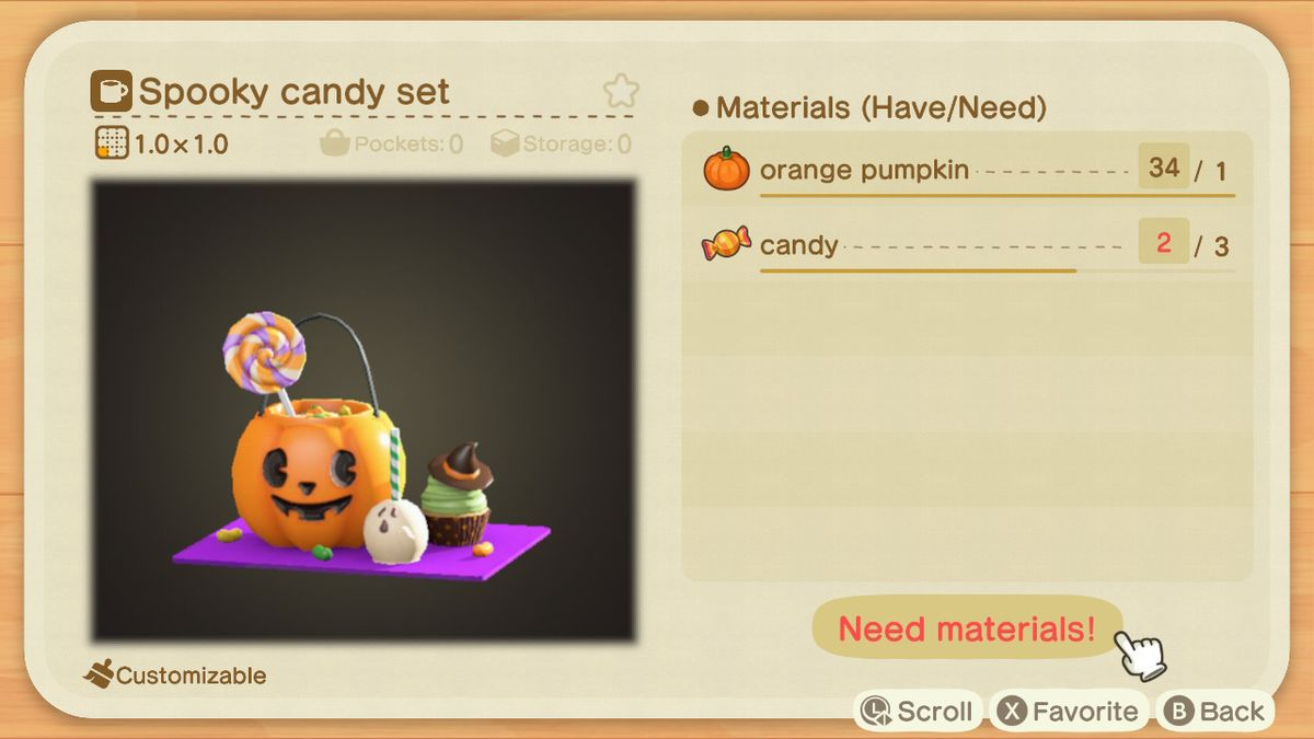 An Animal Crossing recipe for a Spooky Candy Set