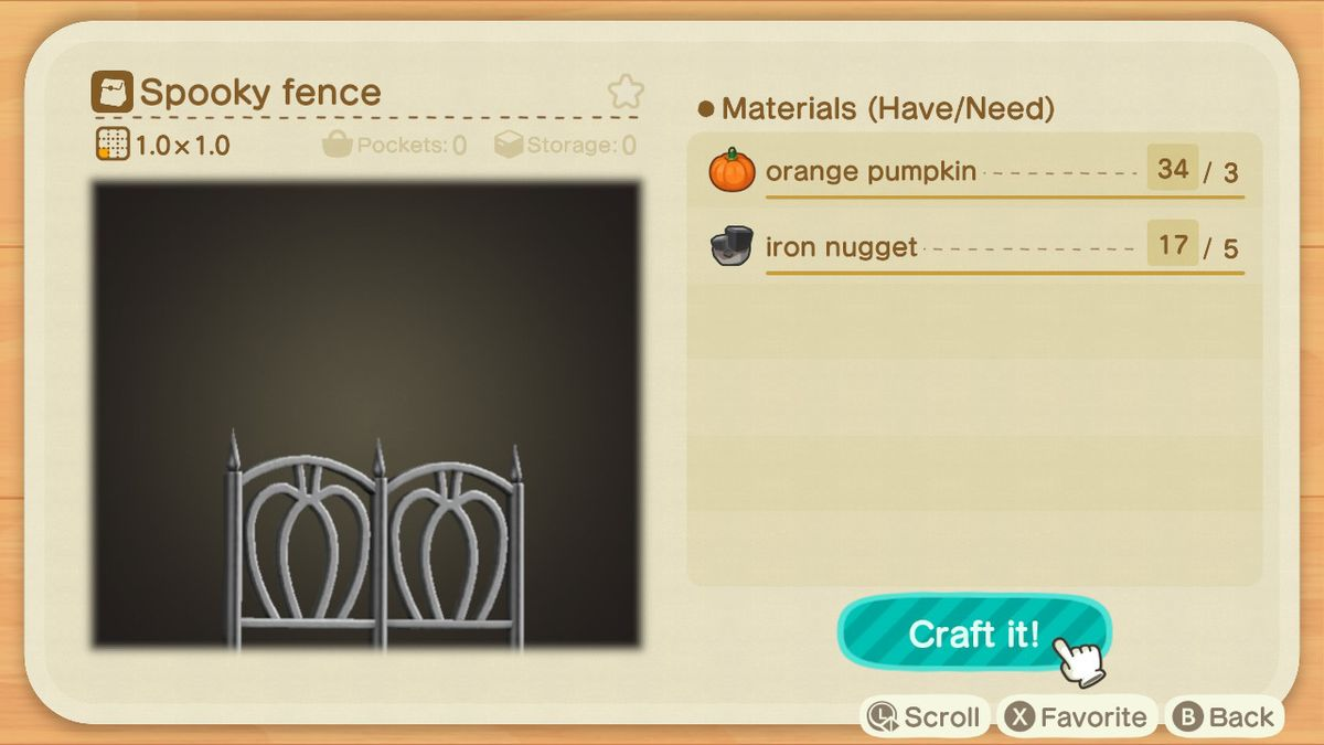 An Animal Crossing recipe for a Spooky Fence