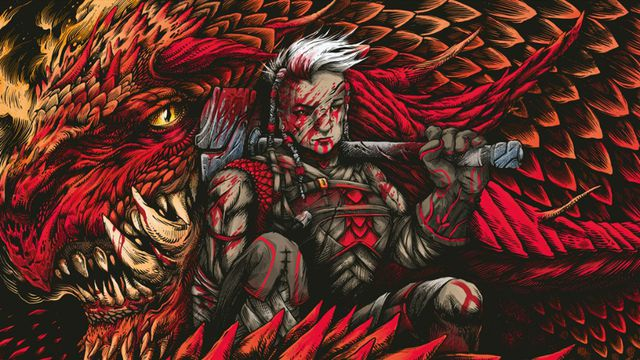 A woman with a shock or white hair stand bloodied with an axe over her shoulder. Filling the frame is the red dragon coiled around her.